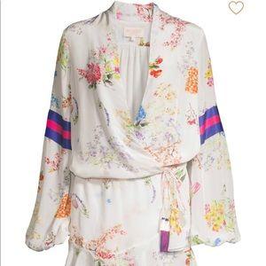 Rococo Sand Dresses - Rococo Sand Ayaka Short Floral Wrap Dress